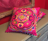 Pink Flower Embroidered Handmade Pillow Cover