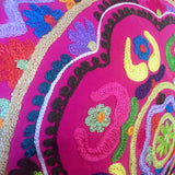 "FREE SHIPPING! 16"" Embroidered Hot Pink Mexican Style Throw Pillow"