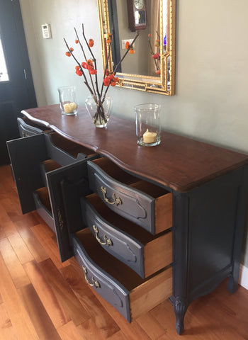Solid Wood Dark Grey French Provincial Dresser Buffet Eclectic