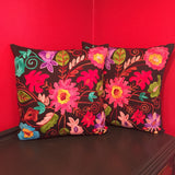 Mexican Flower Handmade Black Pillow Cover