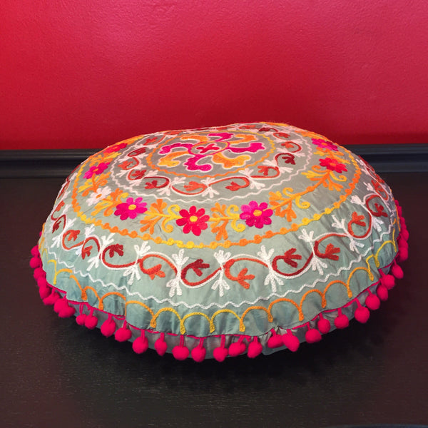 Embroidered Handmade Round Pillow Cover