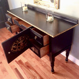 Vintage Solid Wood Black Buffet Server Sideboard with Golden Accents