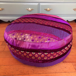 "24"" Round Peruvian Style Purple Velvet Pouf Floor Pillow"