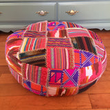 "24"" Round Peruvian Style Multicolor Patchwork Pouf Floor Pillow"