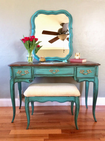 French Provincial Solid Wood Vintage Desk or Vanity