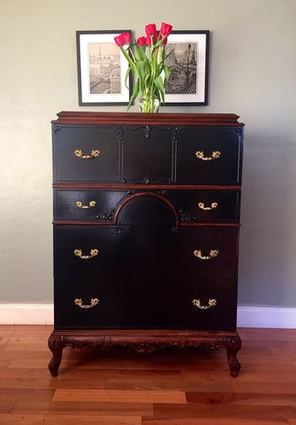 Antique French Provincial Highboy Chest of Drawers