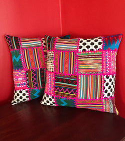 Pink Peruvian Patchwork Handmade Pillow Cover