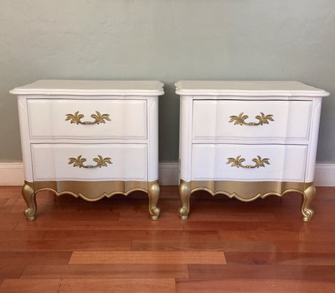 MARKED DOWN! Set of White Thomasville Restored French Provincial Nightstands