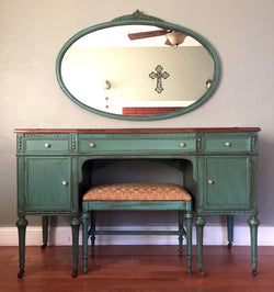 Antique Vanity with Mirror and Bench (Teal)