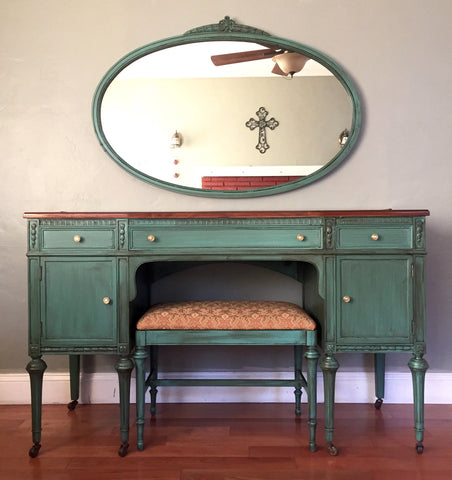 Antique Vanity with Mirror and Bench (Teal) - Antique Vanity With Mirror And Bench (Teal) – Eclectic Home Living