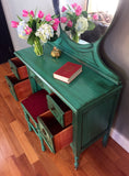 Antique Make-up Vanity (Teal)