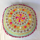 Round Pouf Floor Pillow Cushion with Flower Embroidery