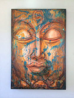 Acrylic Buddha on Canvas by Carlos Arroyave