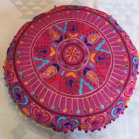 "24"" Round Floor Meditation Pillow Cushion with Embroidery (Hot Pink)"