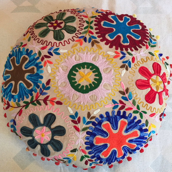 "24"" Round Floor Meditation Pillow Cushion with Embroidery"