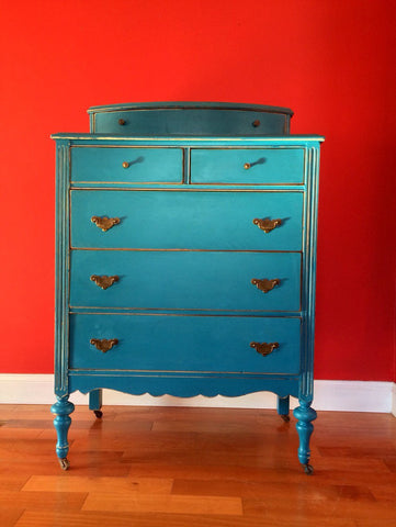 Antique Highboy Chest of Drawers on Casters