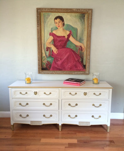 Gold Dipped Mid Century Dresser Console Cabinet