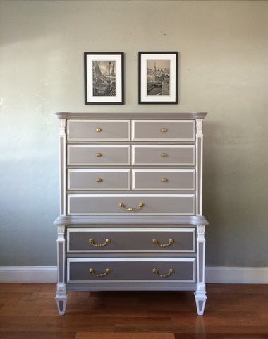 Vintage Mid Century Tallboy Chest of Drawers Dresser