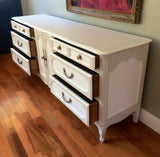 Solid Wood Two-Tone Mid Century Dresser Buffet