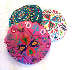 "24"" Round Floor Meditation Pillow Cushion with Embroidery (Pink)"