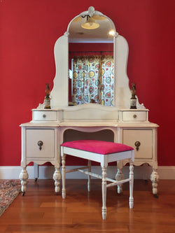 Refinished Antique Vanity with Mirror and Upholstered stool