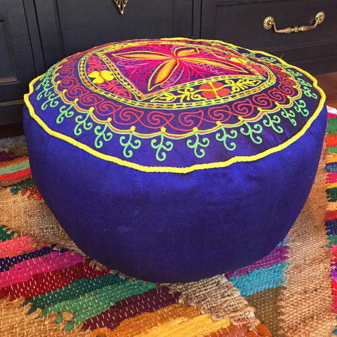 Navy Blue Round Pouf Floor Pillow Cushion with Flower Embroidery