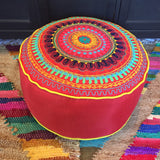 Red Round Pouf Floor Pillow Cushion with Flower Embroidery
