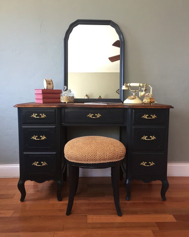 Vintage French Provincial Vanity Desk with Mirror and Stool