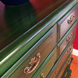Vintage Emerald Walnut Tallboy Dresser Chest of Drawers