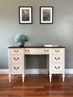 Antique White Vintage Vanity Desk