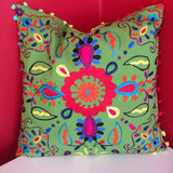"FREE SHIPPING! 18"" Embroidered Key Lime Flower Decorative Throw Pillow"