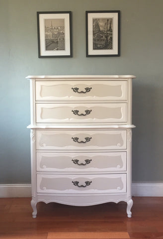Bassett Two-Tone French Provincial Highboy Chest of Drawers