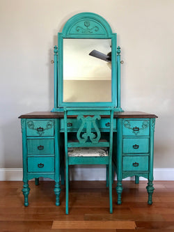 Antique Make-up Vanity with Chair and Mirror (Teal)