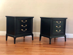 Set of Black Hollywood Regency Mid Century Solid Wood Nightstands