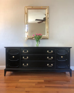 Black Solid Wood Mid Century Dresser Sideboard