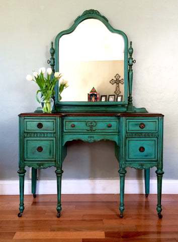 Antique Make-up Vanity with Mirror and Seat (Teal)