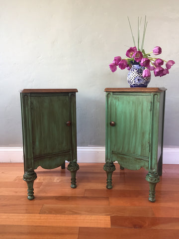 Set of Teal Antique Nightstands Side Tables