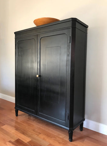 Restoted Black Antique Armoire Cabinet