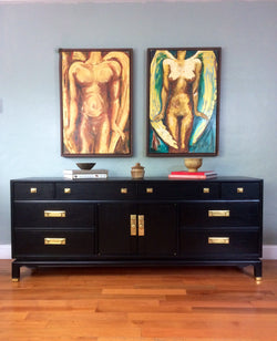 Black Vintage Long Dresser Sideboard