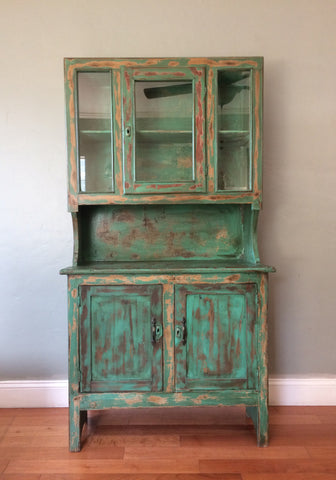 Vintage Farmhouse American Primitive Cupboard Kitchen Hutch