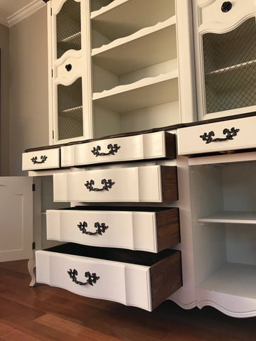 White Vintage French Provincial China Cabinet Kitchen Hutch ...