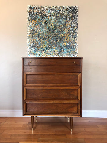 Restored Mid Century Modern Highboy Dresser