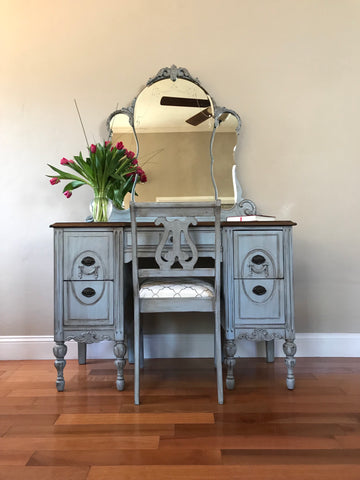 Antique Vanity with Mirror and Matching Chair