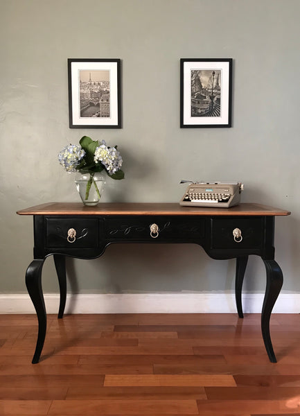 Black Vintage Solid Wood Desk with Chair