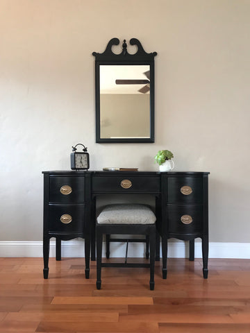 Black Antique Make-up Vanity with Mirror and Bench
