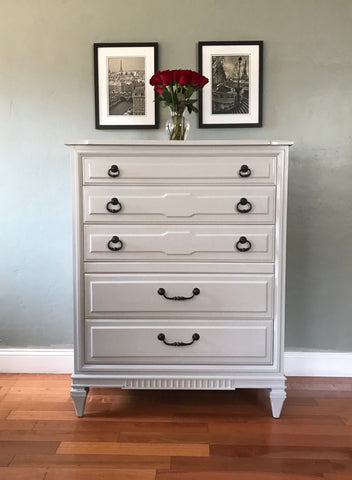 Soft Gray Solid Wood Mid Century Highboy Dresser