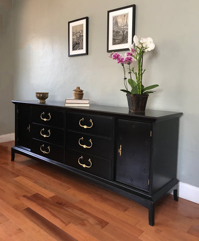 Black Thomasville Solid Wood Dresser Buffet Sideboard