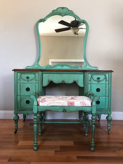Antique Make-up Vanity with Bench