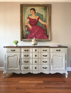 Gray Vintage French Provincial Buffet