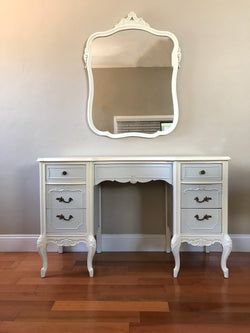 Antique French Provincial Two Tone Make up Vanity w/ Mirror